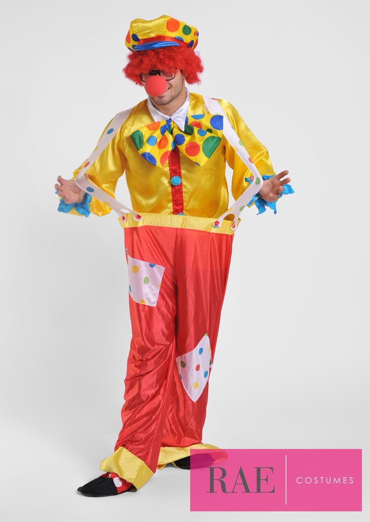 Be known as the funny guy in the Male Clown Costume! Costume Includes: Clown Shirt, Clown Pants, Clown Hat w/ Hair, Accessories: Red Nose, Bow Tie, Shoe Covers, Glasses - More info: raecostumes.com | 415-678-5392