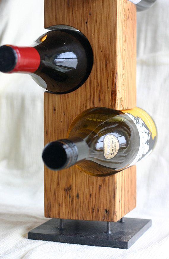 Modern Standing Wine Rack, Light Barnwood, Reclaimed Barn Wood and Steel, Made to Order, Custom Made