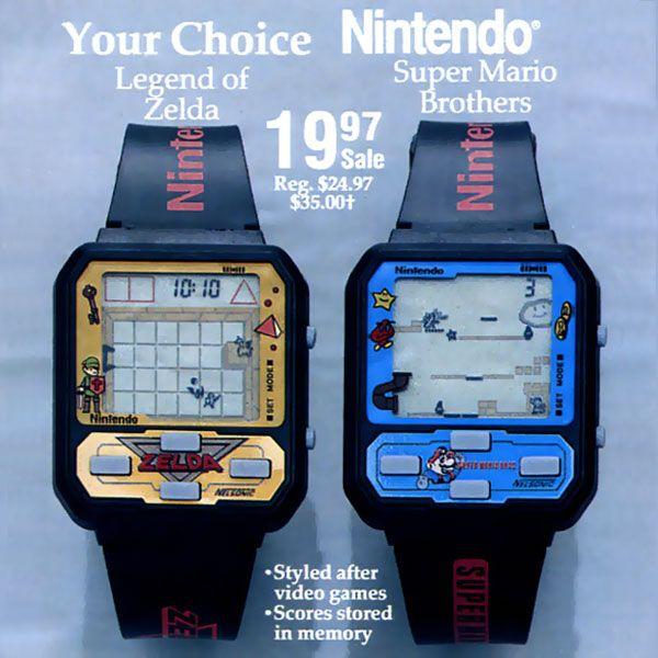 Pendant que les grandes marques tentent de nous imposer les montres connectées, d'autres comme Nintendo nous offrent des montres vintage aux couleurs de Zelda ou Super Mario. Des montres certes qui ne cherchent pas à surveiller votre activité physique mais qui vous proposent de bon vieux classiques jeux vidéo tels que The Legend of Zelda, Super Mario Bros, Star Fox, Q-Bert, ou encore Ghostbusters.  Ces montres Rétro coutaient à l'époque 20$ pièce, aujourd'hui elles sont en vente sur eBay…
