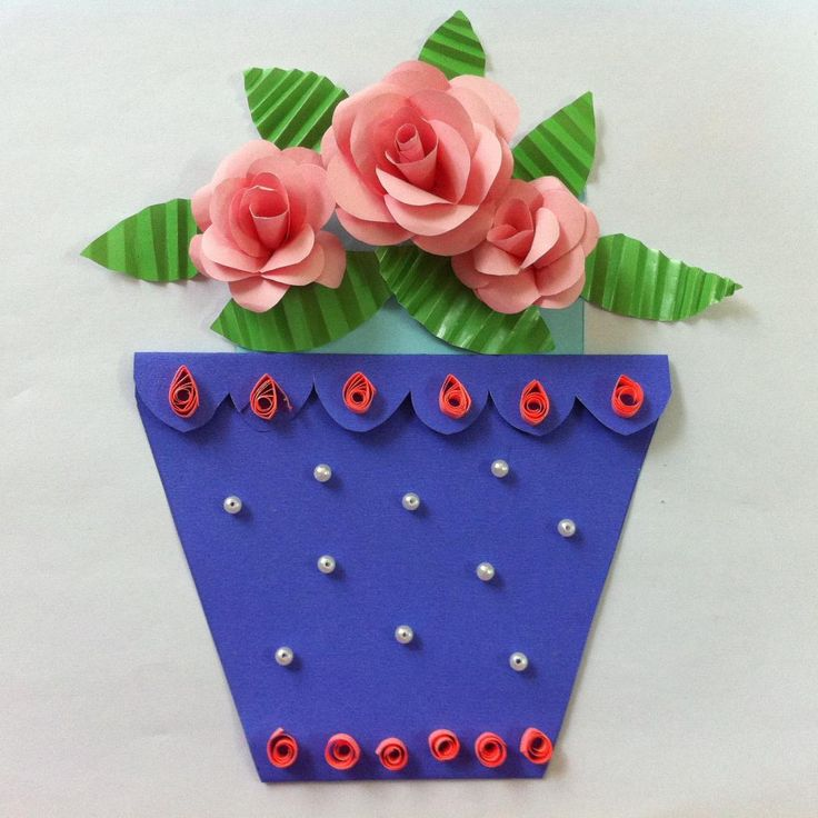 This paper potted flower card is not only unique but very beautiful as well.  Write your greetings on the flower card insert then plant it inside the pot.  When Mom pulls out the flowers, she will see a sweet surprise.     Materials   	paper 	beads 	pen 	scissors 	glue 	stick