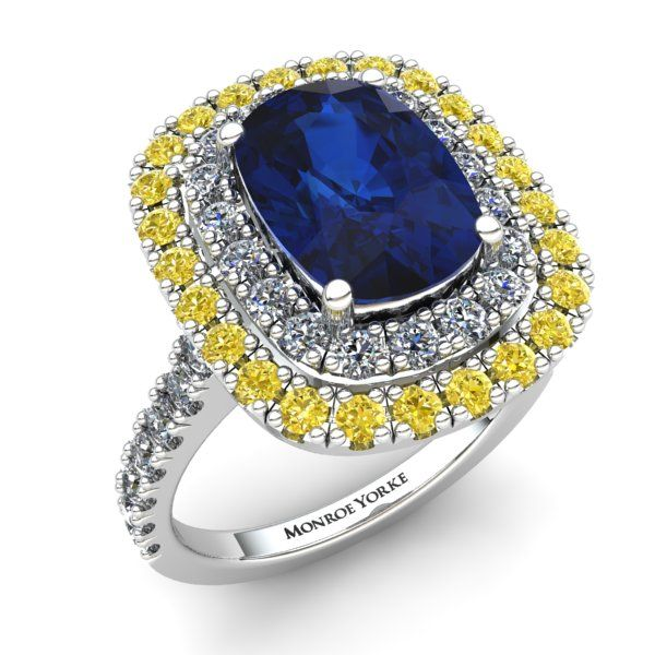 Ceylon Sapphire Halo Ring with White and Yellow Diamonds Contact us at http://www.mydiamonds.com.au for more information