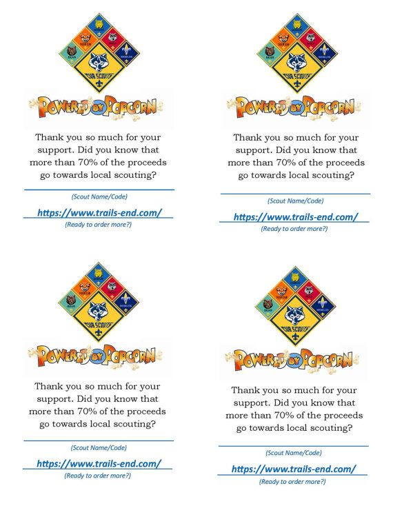 Cub Scout Popcorn Thank You for Your Support Card by JenJensPlace