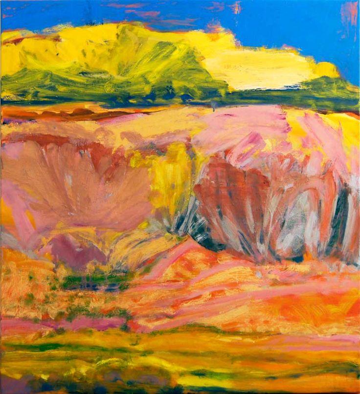 © Jo Bertini ~ Sandhill Series - Green Birdflowers, Silver Tails & Mulla Mullas ~ 2012 oil on canvas at Tim Olsen Gallery Sydney Australia