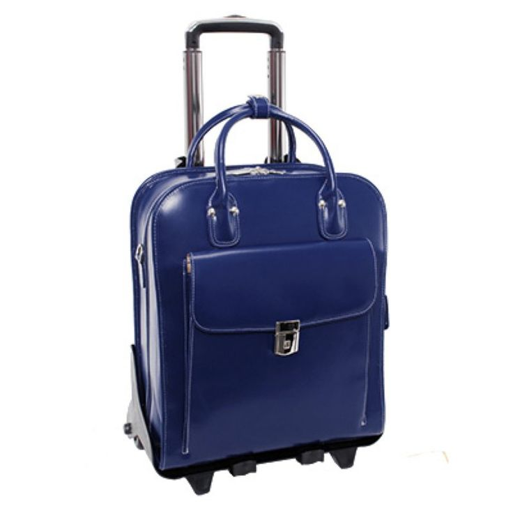 McKlein USA La Grange Leather Vertical Detachable Wheeled Ladies Briefcase Navy - 96497