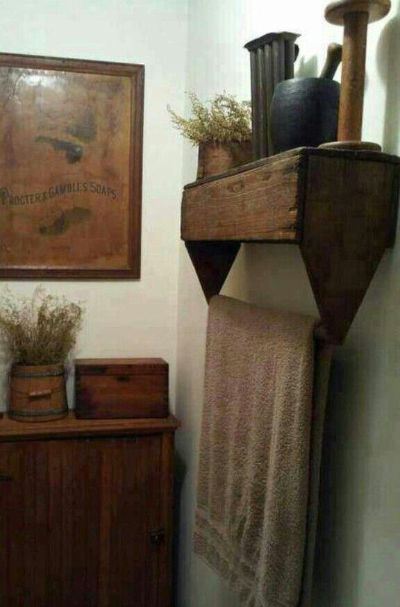 Upside down tool box towel rack. #PrimitiveBedroom #PrimitiveBathrooms #PrimitiveCountryDecorating