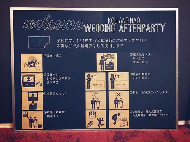 二次会のウェルカムボード☆★ 額縁のシルバー塗装からはじまり、A4ラベルシール約24枚の黒板塗装、全体的なデザイン、カーボン紙での文字転写、ポスカでの色付けなどなど、なかなか手強かったウェルカムボード。 #結婚式#二次会#ウェルカムボード #二次会ゲーム #チェキ#黒板スプレー  #コルクボード#カーボン紙#ポスカ  #weddingdiy #wedding#bride
