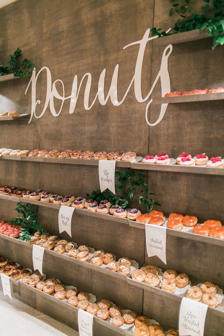 Troy Grover Photographers | Event Planning: Details Details | Floral Design: BloomBox Designs | Donut Wall Signage: Rachel Jane Couture | Donuts: The Donut Snob