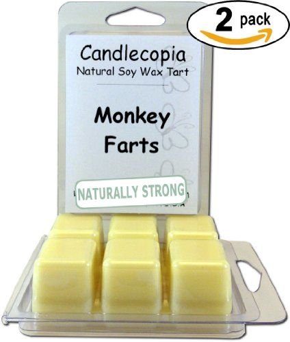 Monkey Farts 6.4 oz Scented Wax Melts - A juicy fruit medley of peach, strawberry, pineapple, coconut and orange blended with creamy vanilla and an exotic musk - 2-Pack of naturally strong scented soy wax cubes throw 50+ hours of fragrance when melted in Scentsy®, Yankee Candle® or standard electric tart warmer Candlecopia http://www.amazon.com/dp/B00ECF6FBC/ref=cm_sw_r_pi_dp_XT5-tb0PQNHFM
