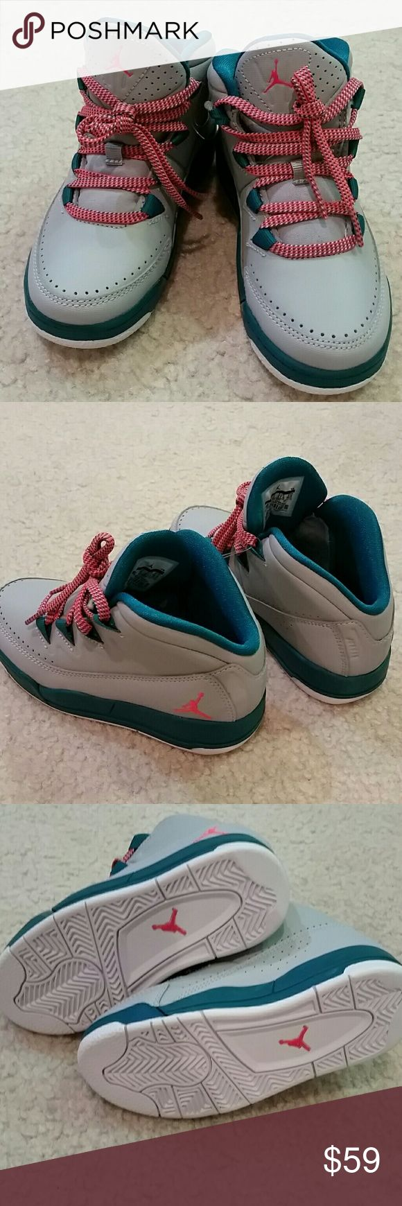 Brand new Toddler girl Air Jordan sneakers Brand new Toddler girl Air Jordans in size 10.5C. Typically will fit 4-5 year old girl. Beautiful teal and slate grey color with orange logo and laces. No PayPal or trades. Jordan Shoes Sneakers
