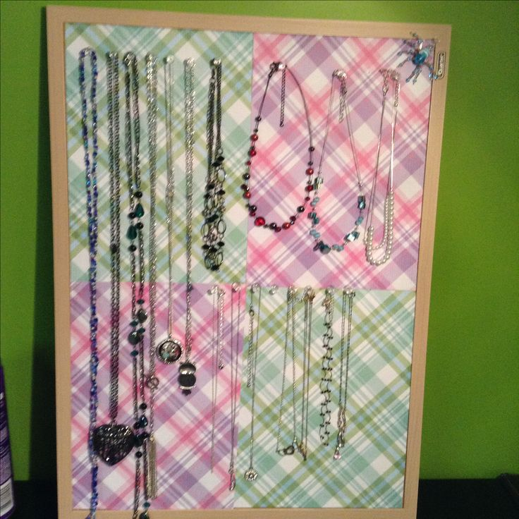 Necklace Display Board  Use Bulletine Board (I got mine for $9.00canadian at Walmart)  Clear Push Pins  And your favourite paper