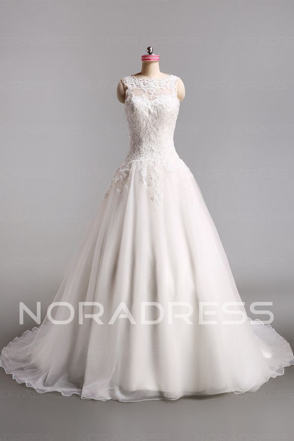 Sleeveless Sheer Back Small Church Wedding Dress With Lace Flower - Noradress