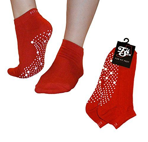 Pilates, Yoga, Barre. Anti-slip/Non-slip Grip Socks, Falls Prevention. Sox (Red/White) ** Learn more by visiting the image link.