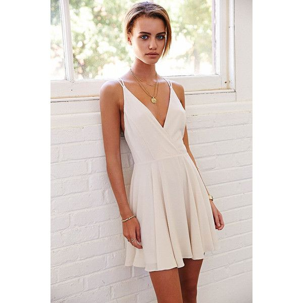 White Coctel Camisole Spaghetti Strap- Backless Pleated Dress (920 THB) ❤ liked on Polyvore featuring dresses, summer cocktail dresses, white chiffon dress, short cocktail dresses, white backless dress and white summer dresses