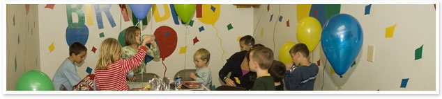 Emerald City Gym:  Recommended for ages 4 to 7 years old and is designed for 10 to 15 children. Your personal enthusiastic party coach will keep your guests together and spend 60 minutes leading them through all the exciting activities. After playtime, you will celebrate for 30 minutes in your party area. Your coach will assist in the party area and finish with all the clean up!  $145 for 10 children