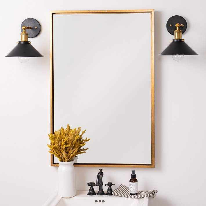 Jordan Antique Gold 24 X 36 Rectangular Wall Mirror 68v72 Lamps Plus Mirror Wall Gold Mirror Bathroom Gold Mirror Wall