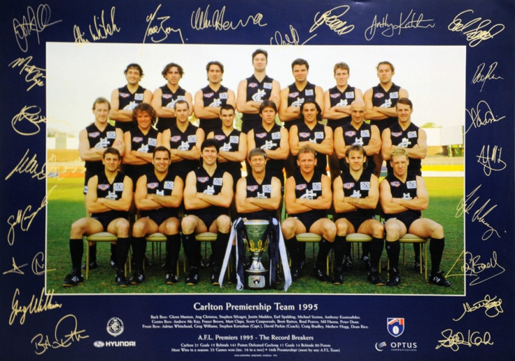 1995 Carlton Blues AFL Premiership Team Grand Final 30th September 1995 Carlton 21.15 (141) d Geelong 11.14 (80)