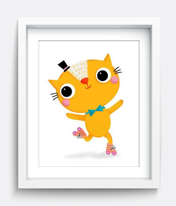 Gato Print, imprimible, gato gatito arte, estampados para niños, arte niños, vivero pared arte, arte de la pared impresiones, impresión Digital, amarillo arte