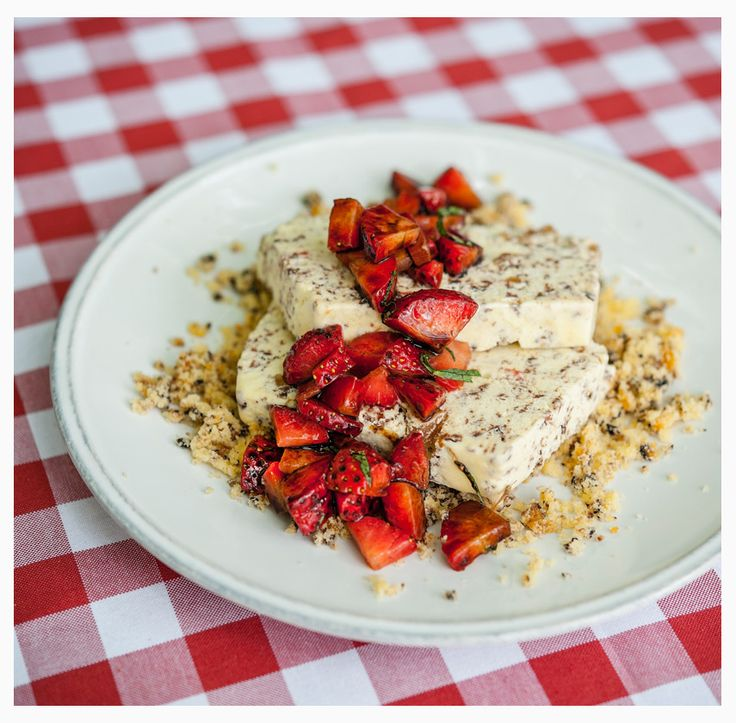 Semifreddo alla stracciatella with fresh strawberries in balsamic vinegar.