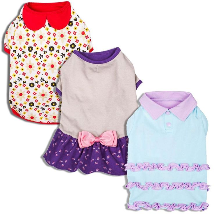 Blueberry cat Shirts for Dogs with Vary Package, Pack of 1 or Pack of 3 Dog T-Shirt with cater Pan Collar Ruffle Polo Dress and Bow Dress Design * Tried it! Love it! Click the image. : Cat Apparel