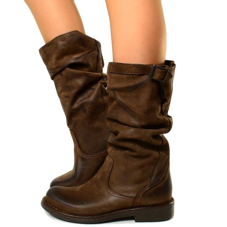 Stivali Biker Boots a Metà Polpaccio in Pelle Vintage Marrone