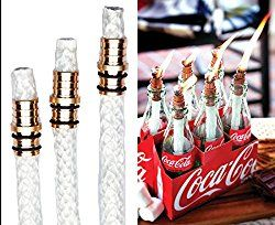 3 Pack: Wine Bottle Tiki Torch Kit – Includes 3 Tiki Torch Wicks and Brass Wick Mount – Just Add Bottle for an Outdoor Wine Bottle Light