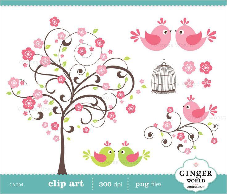 Cherry flower tree love bird clip art digital illustration for scrapbooking, DIY invitation (CA204). $5.00, via Etsy.