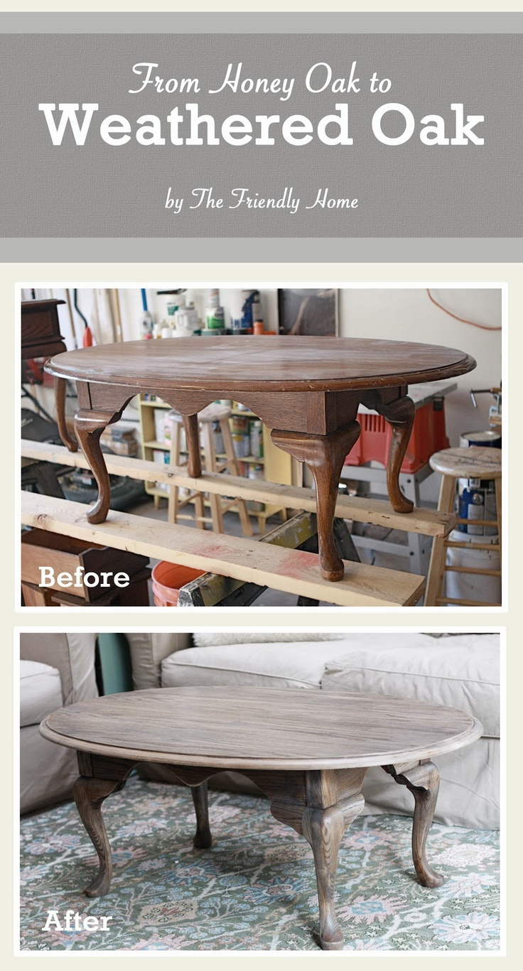 My new favorite wood tone! Love it!!! The Friendly Home: From Honey Oak to Weathered Oak. A tutorial for changing oak furniture from orange to grey.