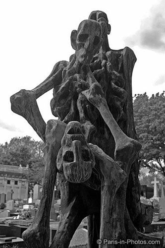 Pere Lachaise cemetery i had this on my say what board, & then this was brought to my attention.   It is QUITE grim but it is the memorial statue that was placed in Pere LaChaise Cemetery in remembrance of the victims of the Buchenwald Concentration Camp. It is purposely grim as to reflect the horrendous conditions at that place.
