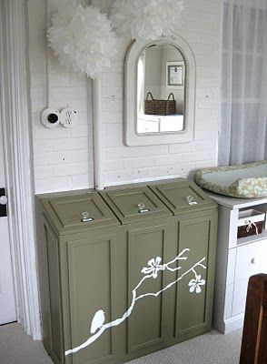 A laundry chute is a must-have in my future home.  Love this one with the different slots so the clothes are already sorted for you!