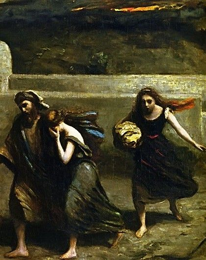 A painting of Lot and his daughters fleeing Sodom as God rained hail down upon it. Sodom and Gomorrah were never seen again. Even to this day its location remains uncertain.