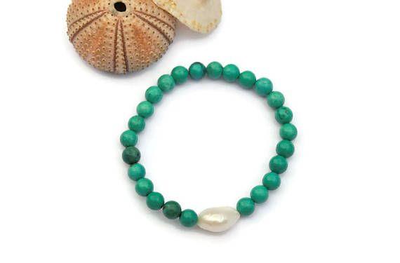 Green turquoise Bracelet Beaded Stetch Bracelet Bridesmaid