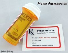 """The """"Just What the Dr. Ordered"""" money prescription bottle gift is a unique way to give money for anniversaries, birthdays, Christmas and graduations."""