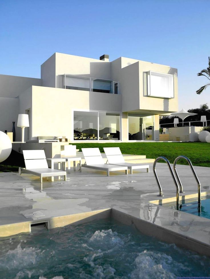 White House Design with Roof Terrace by