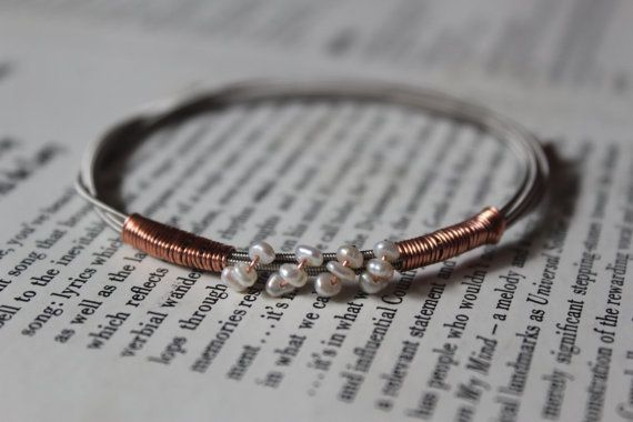 Guitar String Bracelet with Fresh Water Pearls and Copper Detail #heartSTRINGSjewelry