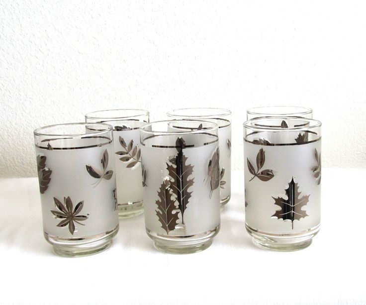 New to VintageLandia on Etsy: Tumblers   Silver Leaf   Barware   Drinking Glass   Mid Century   Retro Kitchen   Retro Wedding   Wedding Gift   Libbey Glass (19.99 USD)