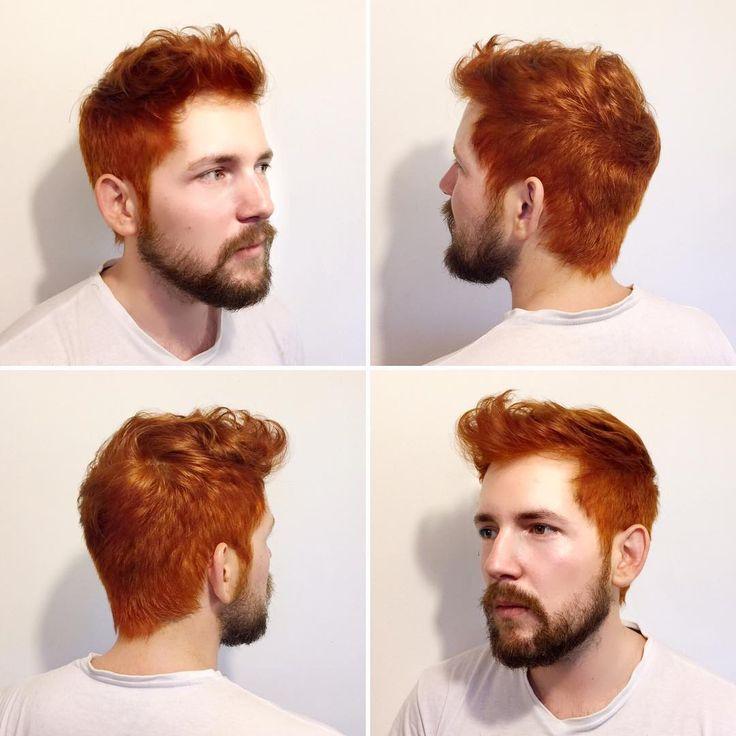 Corte y coloración para @mr_ibis por @evatangol  #tangolstudio #corte #color #cobrizo #copper #orange #haircut #haircolor