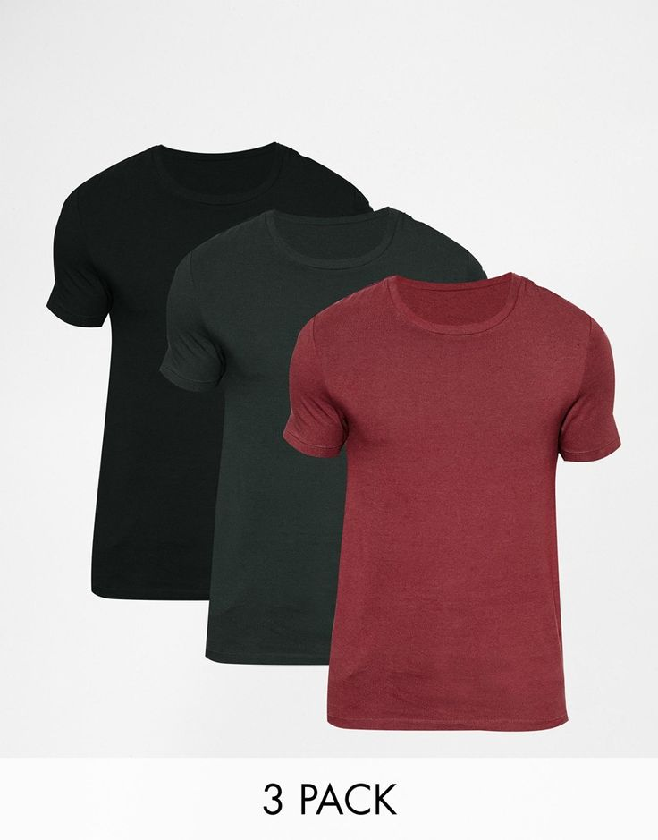 "Muscle fit t-shirt by ASOS Stretch jersey Crew neck Slim cut sleeves Tight fit to the body Skinny fit - cut closely to the body Machine wash 94% Cotton, 6% Elastane Our model wears a size Medium and is 188cm/6'2"" tall Three pack"