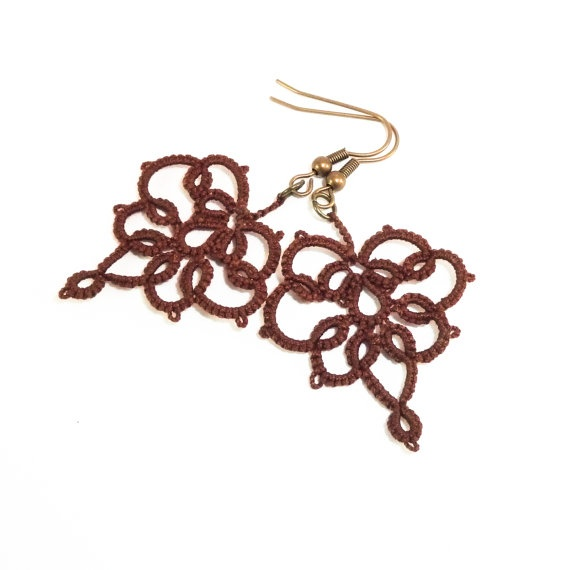 Brown lace earrings  lace jewelry by Decoromana on Etsy,