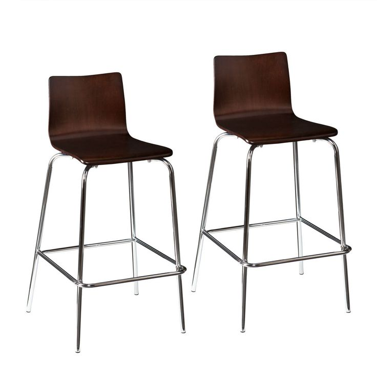 MBS51048 PAIR OF CHROME / EXPRESSO BAR HEIGHT BARSTOOL 2PCS SET #Unbranded #Contemporary