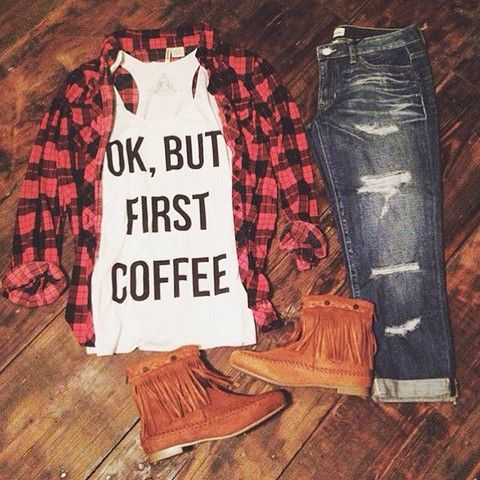 OK, But First Coffee Tank^^^ LOVE the shoes
