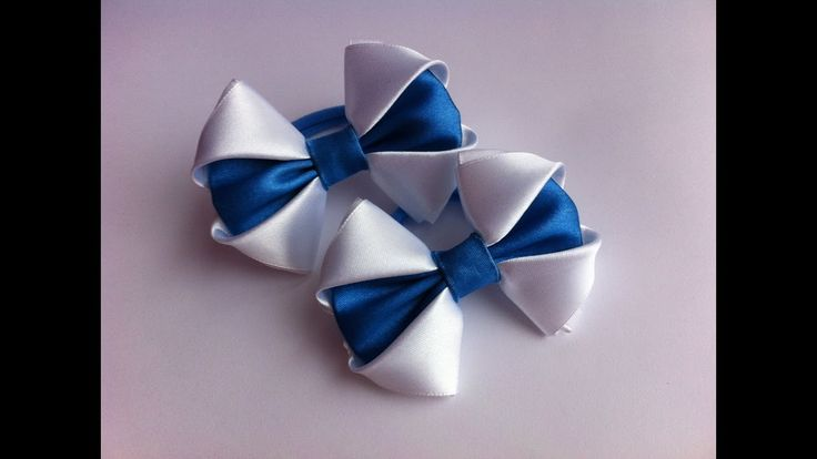 Украшение на ререзинку Канзаши / Бело-синие бантики