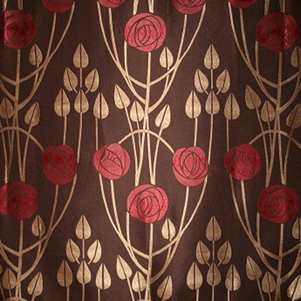 Art Deco Art Nouveau Brown Flat-Weave Curtain and Upholstery Fabric | Art Nouveau Arched Roses Peat Brown from Loome Fabrics