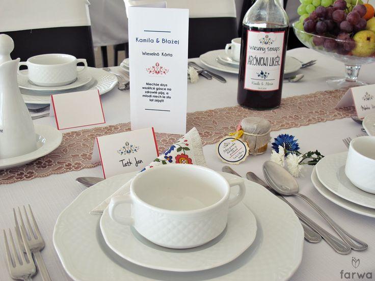 Menu weselne, winetki w języku kaszubskim, alkohole, upominki dla gości.....www.farwa.pl