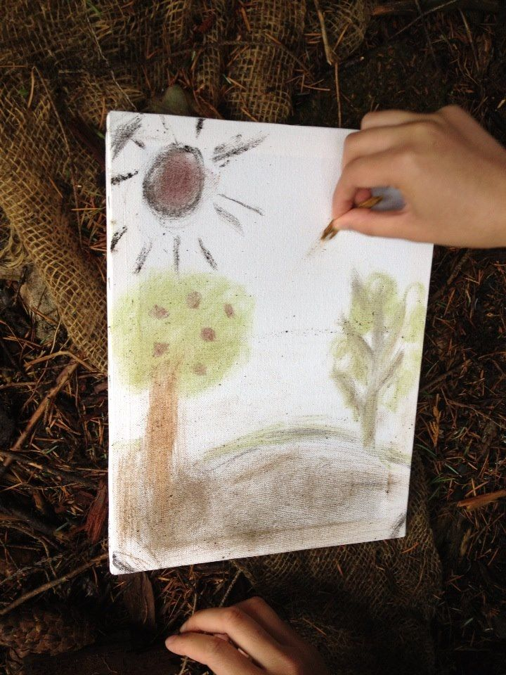 Nature Drawing. Giving children a blank canvas and allowing them to find different natural materials to draw with. This is a good idea because it opens children's minds and helps them understand that you can create art with just about anything.