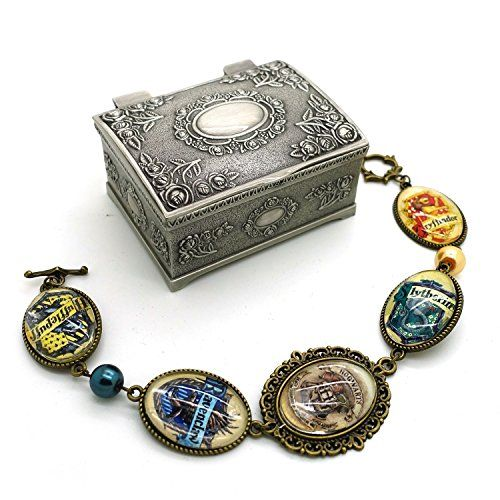 Harry Potter Hogwarts Houses Bracelet with Vintage Jewelry Box