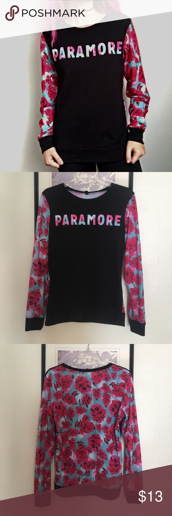Paramore cotton floral long sleeved shirt fun, floral Paramore merch no longer sold in stores. With their new album out and touring the nation, Paramore has never been more in style! Barely-used condition, no signs of fading or wear. The tag says medium but it fits me fine and I'm a small. Feel free to make me an offer! Hot Topic Tops Tees - Long Sleeve