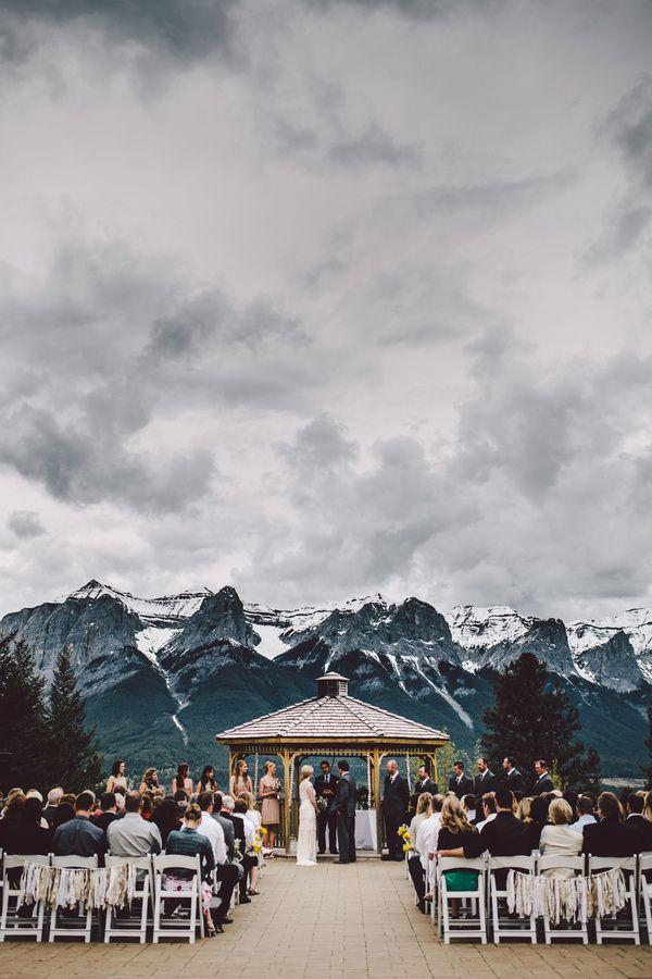 Real Claire Pettibone bride Amanda's Canadian Mountain Wedding | Photo: Diane…