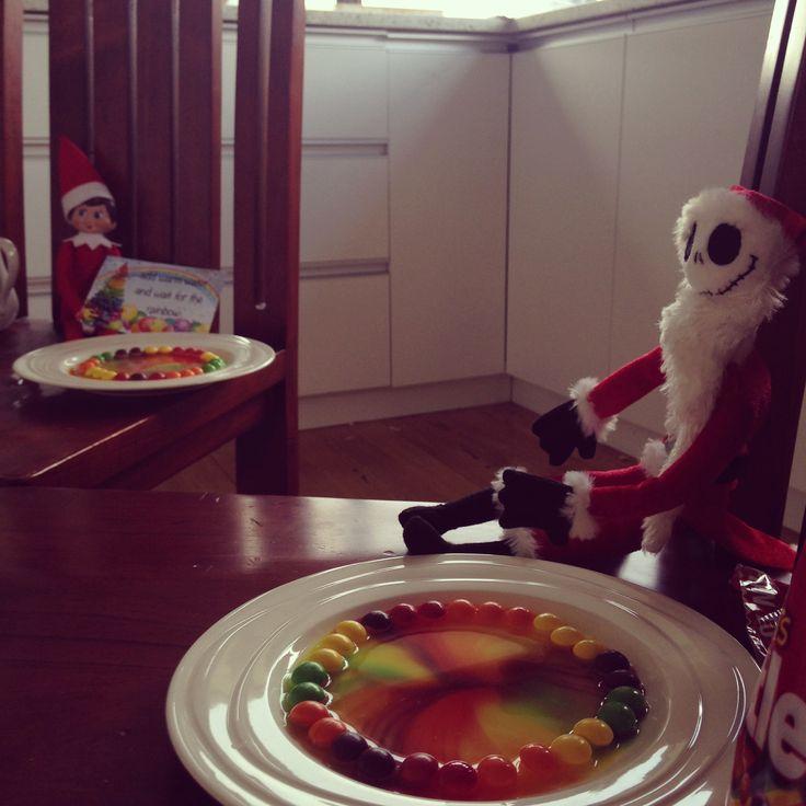 Sparkle the elf on the shelf made skittles rainbows with jack skellington 2016
