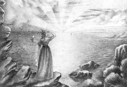 Sunrise Over Sea  13 November 1839  Signed and dated - 'Anne Brontë', 'November 13th. 1839'.    Drawn while Anne was governess to the Ingham children at Blake Hall, Mirfield (this was near to Roe Head School). Anne was nineteen at the time. Edward Chitham suggests it may be another drawing symbolic of Anne herself - peering out over a new life.