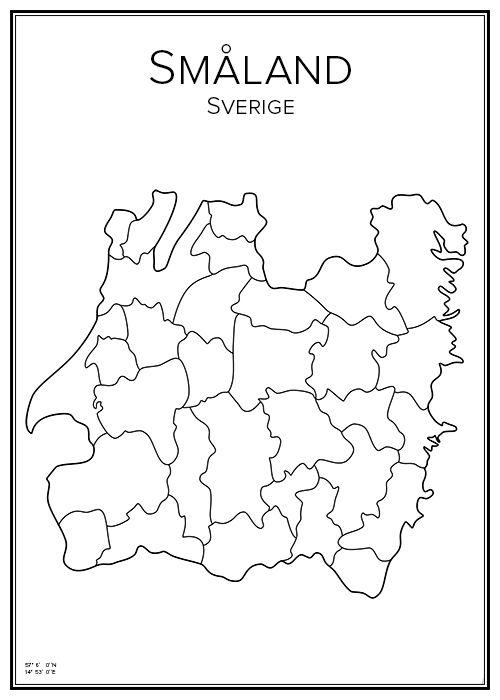 Småland. Sverige. Karta. City print. Print. Affisch. Tavla. Tryck.